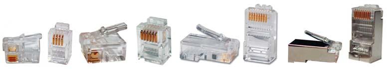 Модульные коннекторы RJ9, RJ11/RJ12*, RJ45*