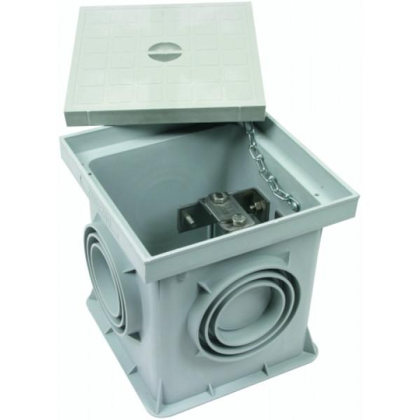 DEHN 549 050 Пластиковый смотровой колодец для подземного монтажа тип UF, с разделительной клеммой St/tZn 197x197x204 мм