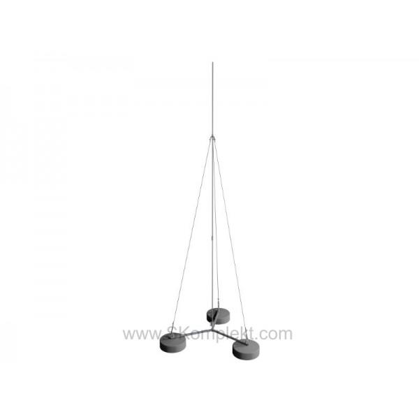 GALMAR GL-21121 — Молниеприемник-мачта (4 метра; на 3х бетонных основаниях; одноступенчатая тросовая поддержка; оцинкованная сталь)