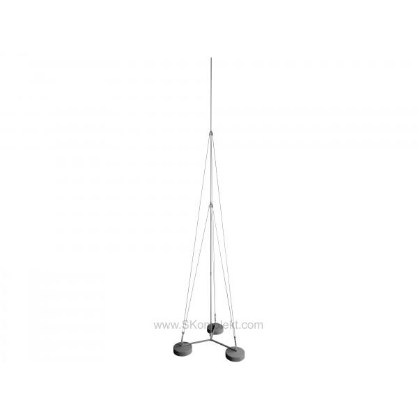 GALMAR GL-21125 — Молниеприемник-мачта (6 метров; на 3х бетонных основаниях; двухступенчатая тросовая поддержка; оцинкованная сталь)