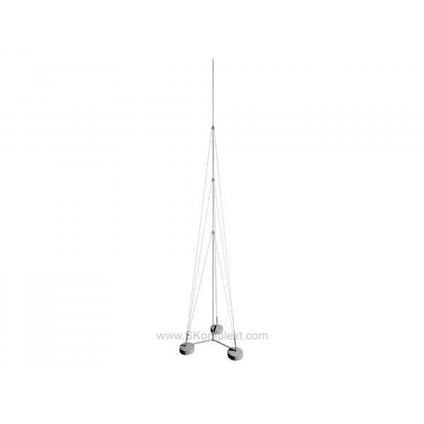 GALMAR GL-21129 — Молниеприемник-мачта (8 метров; на 3х бетонных основаниях; трёхступенчатая тросовая поддержка; оцинкованная сталь)