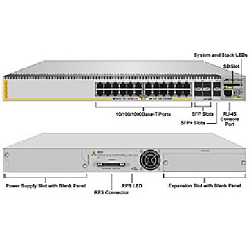 Allied Telesis AT-x610-24Ts/X-POE+ Коммутатор L3+, 24x10/100/1000T или 4 SFP комбо, 2xSFP+ (10G), слот под опциональный модуль x6EM/XS2 (2xSFP+), POE+ (бюджет мощности 480/780Вт)