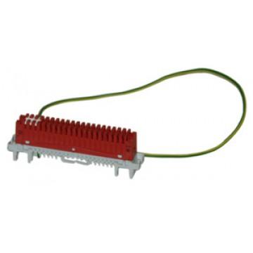 KRONE 6089 2 108-01 — плинт заземления LSA-PROFIL 2/34, с язычком со шлицем, цвет зеленый/желтый, длина провода заземления 500 мм
