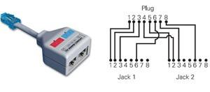 Siemon YT4-E2-E2 - разветвительRJ-45 надвагнезда (4Pr.T568A/T568B - 2 x 2Pr.10BASE-T) (10 штук в упаковке)